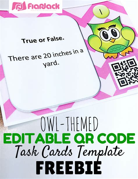 Flapjack Educational Resources Editable Owl Qr Code Task Cards Template Freebie Task Card Template 2