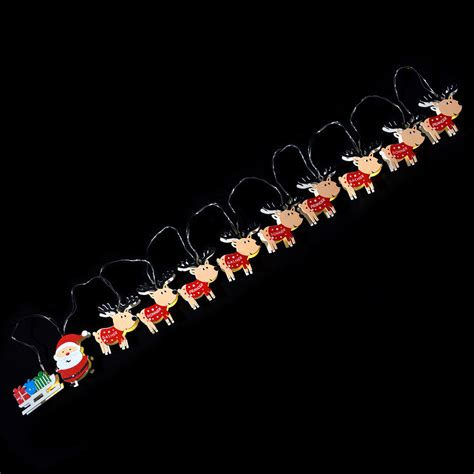 reindeer sleigh santa christmas 11 led battery light