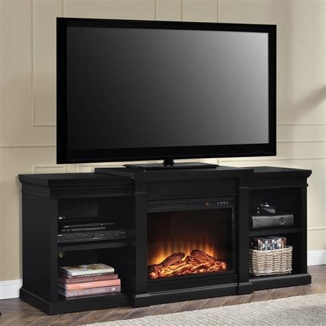 altra manchester 66 quot tv stand with side shelves in black