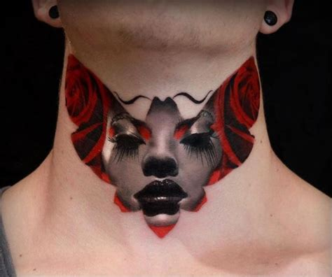 front neck tattoos 50 most beautiful neck tattoos for and 2018