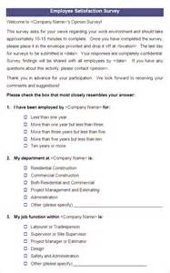 employee satisfaction survey questions template employee satisfaction survey templates 4 free word