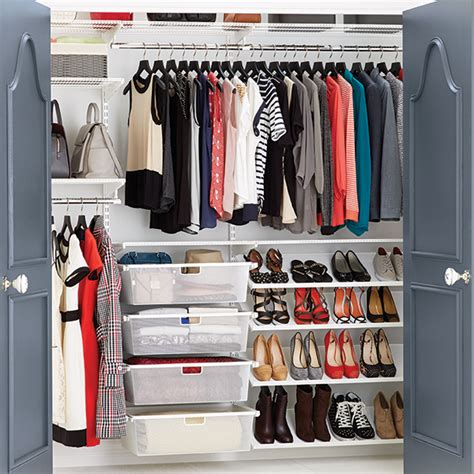 How To Store Shirts In Closet by Clothes Closet White Elfa Reach In Clothes Closet The