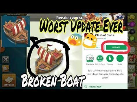 clash of clans broken boat omg broken boat update out clash of clan boat