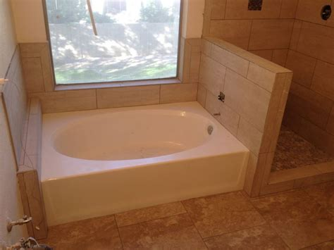 garden tub tile surround bathroom ideas
