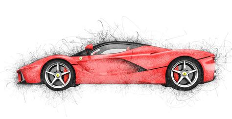 laferrari sketch the laferrari side sketch digital by paul dordea