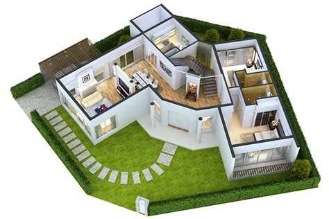 home design 3d models free detailed house floor 1 cutaway 3d model max obj cgtrader com
