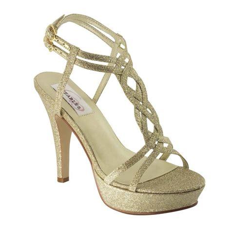 gold glitter prom high heel strappy platform