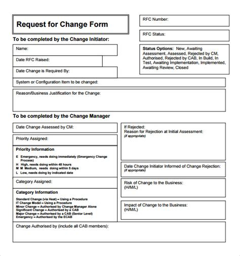 itil change management process template sle change request template 9 free documents in pdf