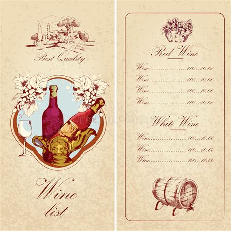 wine card template wine list template stock vector illustration of green