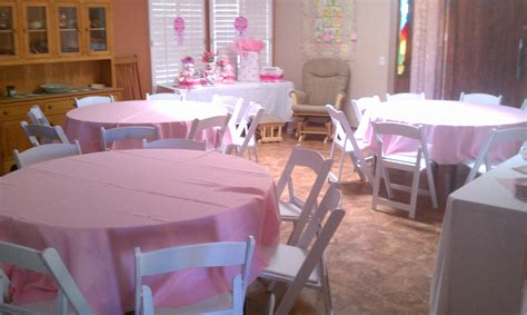 baby shower table tables chairs pink linens baby shower royalty rentals