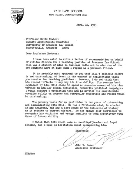 yale school cover letter here s bill clinton s personnel file from his time as an
