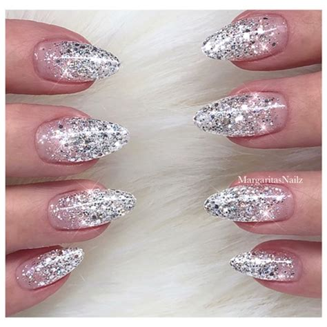 silver glitter ombre nails nail art gallery