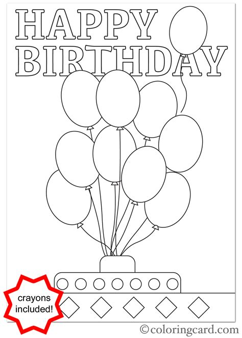 colorable birthday card template birthday coloring card balloons coloring card