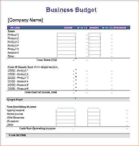 sle business budget business budget template for excel
