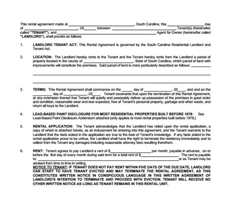 landlord tenant lease agreement template landlord lease agreements 6 sles exles formats