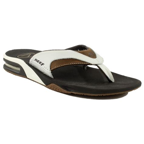 womens reef fanning white sandals reef leather fanning sandals white brown