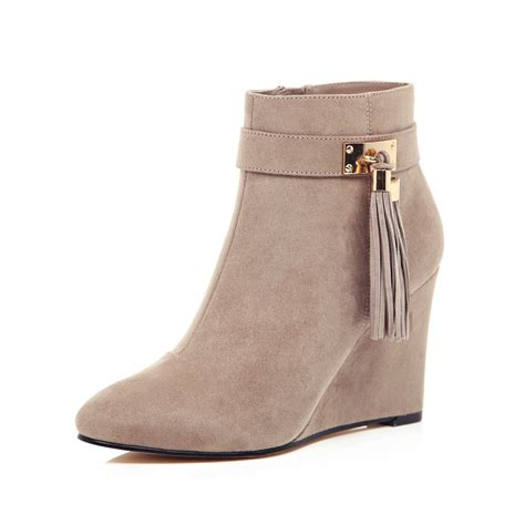 river island light grey wedge ankle boots in gray lyst
