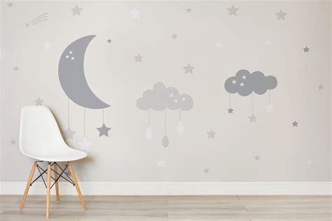 baby room wall murals baby clouds and moon wall mural murals wallpaper