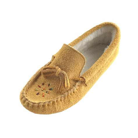 are moccasins slippers s genuine moosehide suede fleece lined beaded