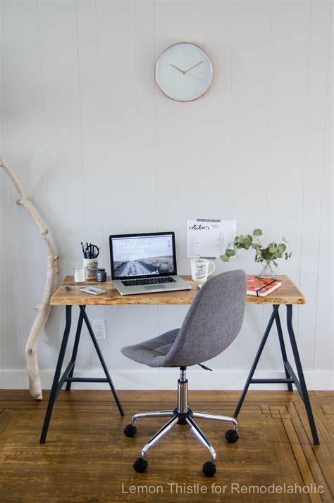 diy table using ikea legs remodelaholic ikea hack easy diy live edge desk with trestle legs