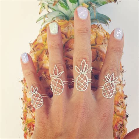 Handmade Jewelry Hawaii - pineapple rings sterling silver handmade jewelry from hawaii