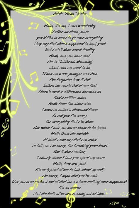 song lyrics of adele hello lyrics adele lyrics