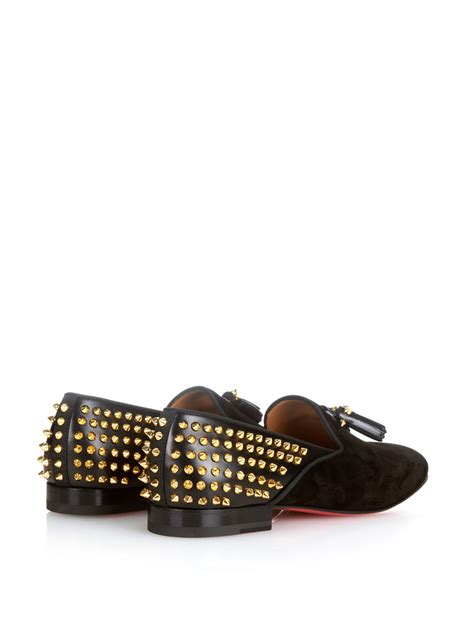christian louboutin studded loafers christian louboutin tassilo studded loafers in black for