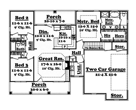1500 sq ft ranch house plans floor plans aflfpw76850 1 story ranch home with 3