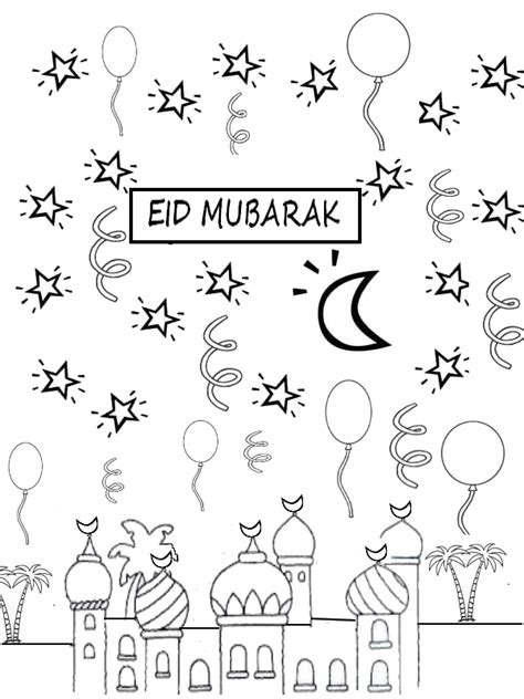 happy eid card template coloring page eid mubarak coloriages islamiques