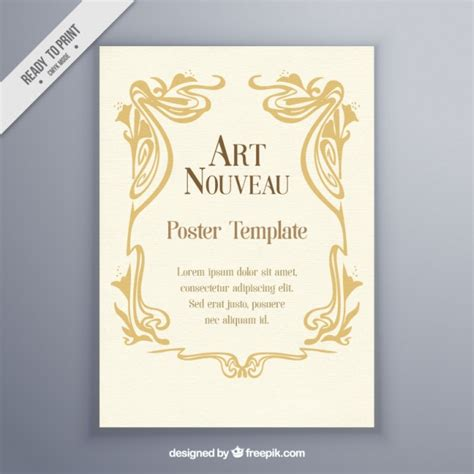 vintage art nouveau poster template vector free download