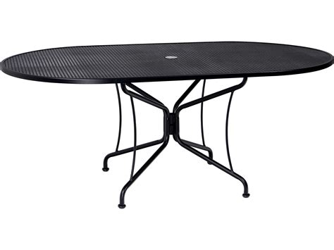 Oval Wrought Iron Patio Table Woodard Wrought Iron 72 X 42 Oval Umbrella Table 8 Spoke 190306