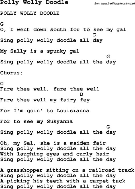 doodlebug lyrics summer c song polly wolly doodle with lyrics and