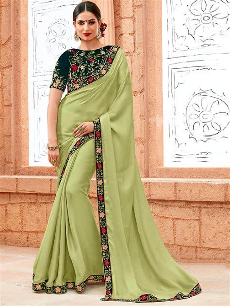 pista green color saree plain festive wear pista green saree g3 wsa18383