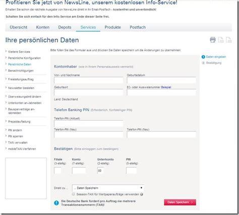 deutsche bank pin ändern aufforderung zur 196 nderung der telefon banking pin durch