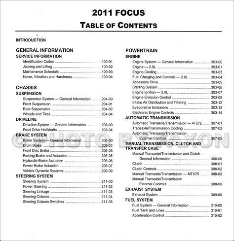 2011 ford focus repair shop manual original