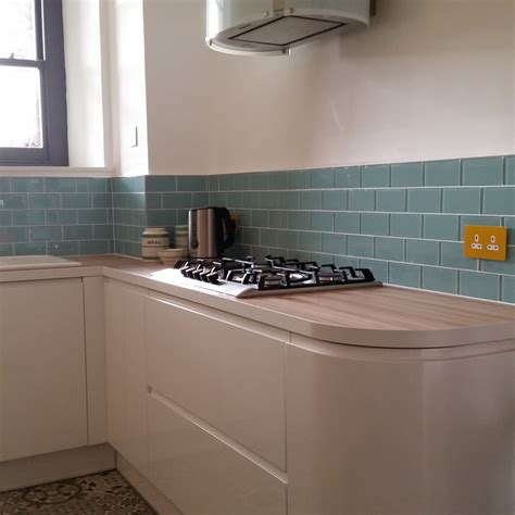 Blue Glass Kitchen Backsplash kitchen splashback turquoise glass metro tiles uk