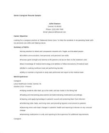 Resume Objective Caregiver Caregiver Resume Exle 7 Free Word Pdf Documents