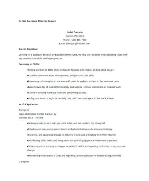 Caregiver Resume Skills by Caregiver Resume Exle 7 Free Word Pdf Documents