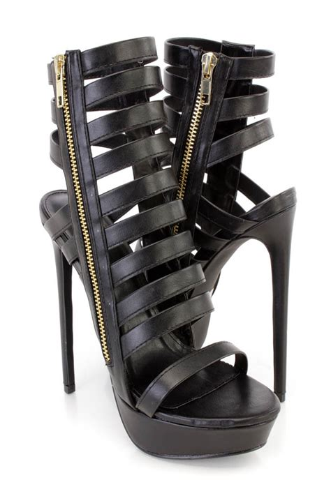 black leather high heel booties black strappy platform high heel booties faux leather