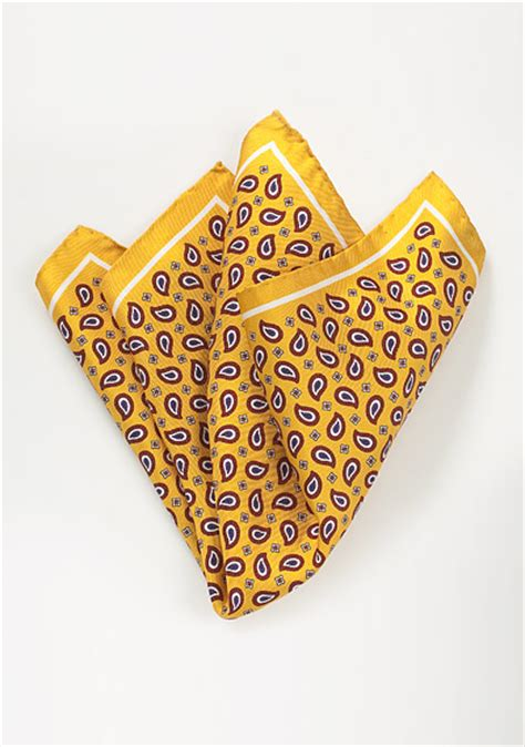 yellow pattern pocket square silk pocket square with bold paisley pattern in yellow and