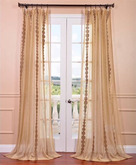 Sheer Gold Curtains Cleopatra Gold Embroidered Sheer Curtain Panel Contemporary Curtains By Overstock