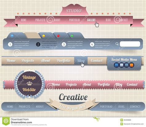 page header template web elements vector header navigation templates stock