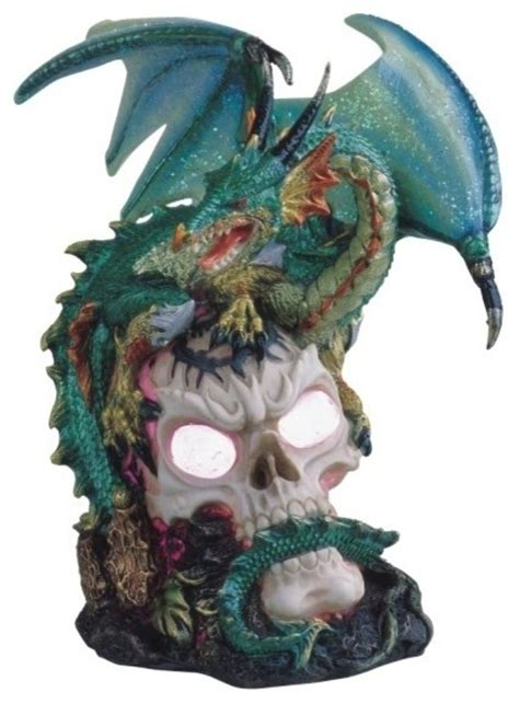 Dragon Decorations Green Dragon Standing On Skull Head Collectible Figurine