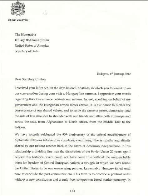 Explanation Letter Answer Prime Minister Viktor Orb 225 N S Answer To Of State Clinton S Letter Hungarian