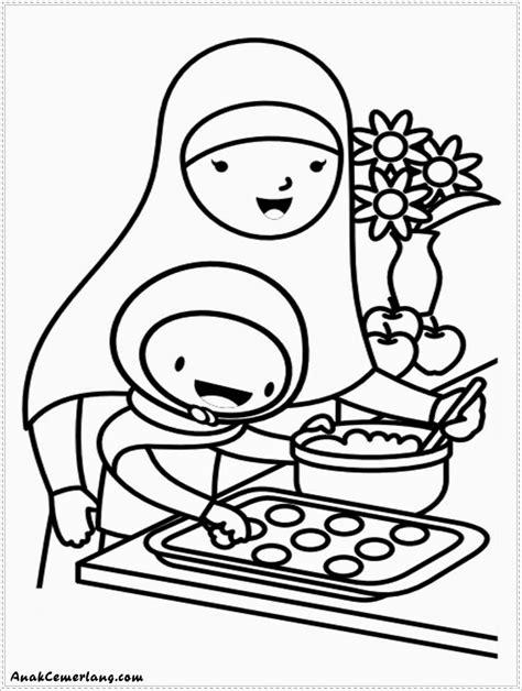 Gambar Mewarnai Membantu Ibu Membuat Kue - Anak Cemerlang