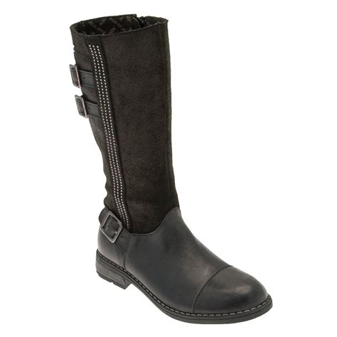 aqua gemstones black leather waterproof boot