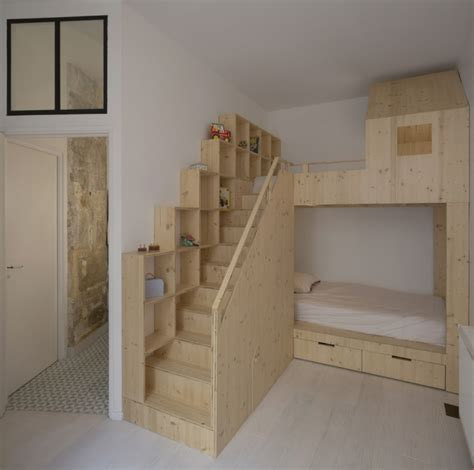 Pinterest Bedroom Decorating Ideas by Lit Superpos 233 En Bois Brut Pour Enfant