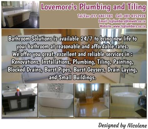 Reliable Rate Plumbing by Lovemore S Plumbing And Tiling Orange Grove Contractors