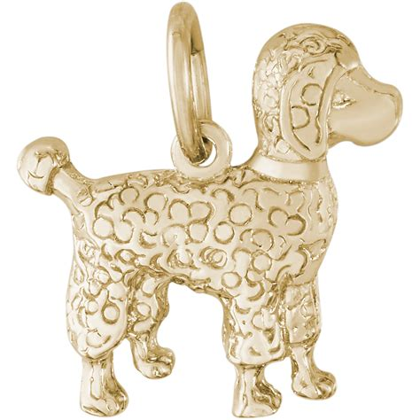 poodle charm gold plated 10 3044