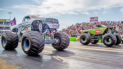 monster truck drag racing street outlaws power scare battles monster trucks in an